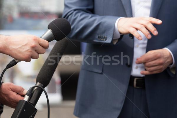 Média interjú sajtótájékoztató készít üzletember politikus Stock fotó © wellphoto