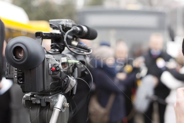 Caméra vidéo événement technologie micro conférence vidéo Photo stock © wellphoto