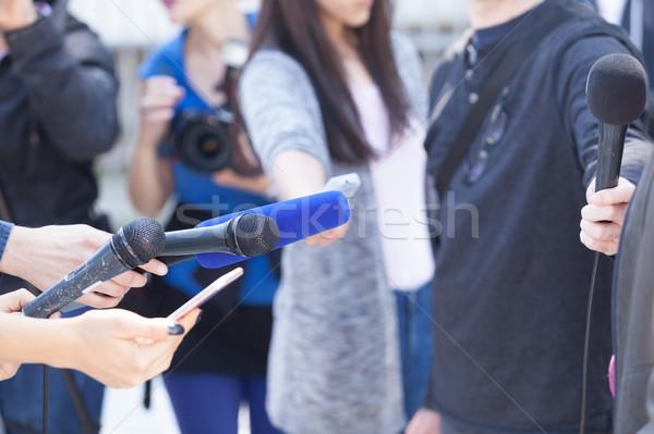 Média interjú sajtótájékoztató tart hírek konferencia Stock fotó © wellphoto