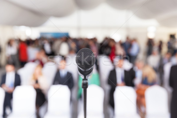 Business conference. Corporate presentation. Microphone. Stock photo © wellphoto