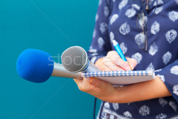 Female journalist taking notes at press conference Stock photo © wellphoto