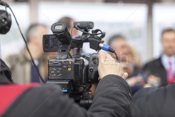 Caméra vidéo événement télévision nouvelles conférence communication Photo stock © wellphoto