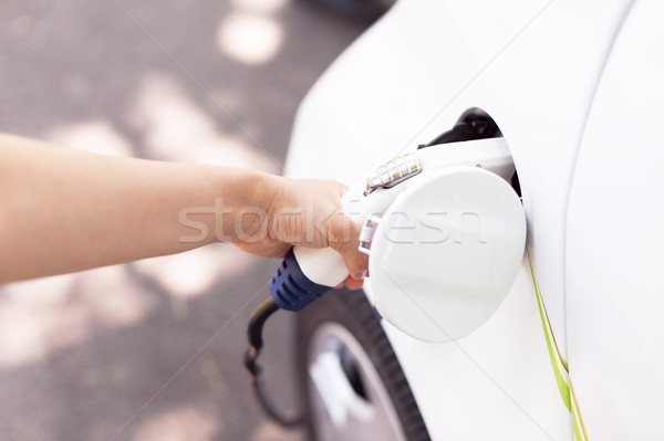 Charging battery of an electric vehicle Stock photo © wellphoto