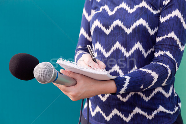 Female journalist at press conference, writing notes, holding mi Stock photo © wellphoto