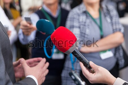 Media interview journalist vrouw hand Stockfoto © wellphoto