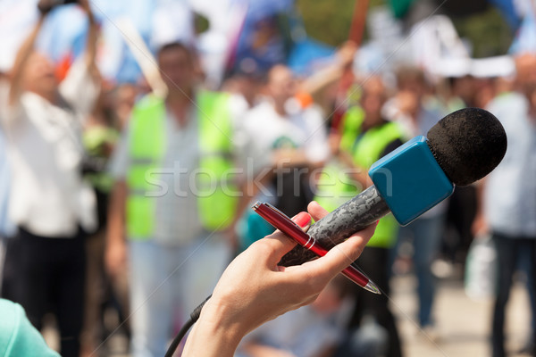 Mikrofon publicznych demonstracja skupić nie do poznania tłum Zdjęcia stock © wellphoto