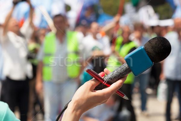 Microphone. Public demonstration. Stock photo © wellphoto