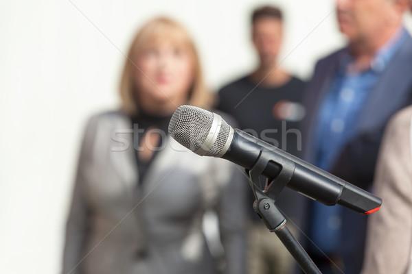Notícia conferência microfone comunicação informação Foto stock © wellphoto