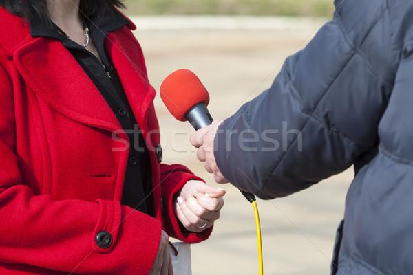 Media interview druk microfoon televisie nieuws Stockfoto © wellphoto