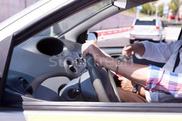 Student rijden auto instructeur bestuurder Stockfoto © wellphoto