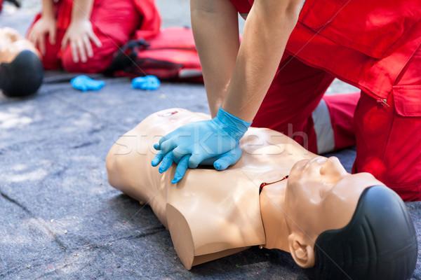 Ilk yardım eğitim tıbbi eğitim yardım Stok fotoğraf © wellphoto
