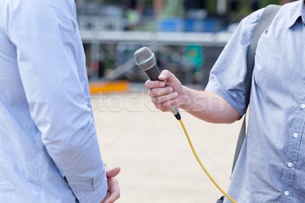Media interview nieuws microfoon focus druk Stockfoto © wellphoto