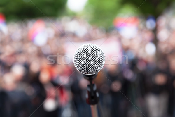 Protesta pubblico dimostrazione microfono focus offuscata Foto d'archivio © wellphoto