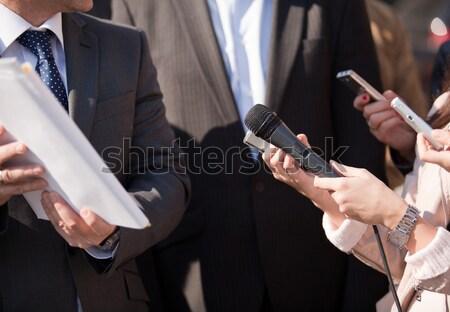 Media interview. Hand gestures. Stock photo © wellphoto