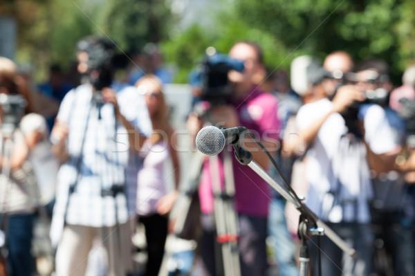 Haber konferans mikrofon odak bulanık kamera Stok fotoğraf © wellphoto