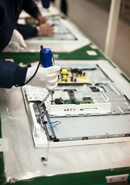 Electronic industry assembly line Stock photo © wellphoto