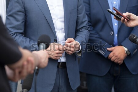 Press interview with businessperson, spokesperson or politician Stock photo © wellphoto