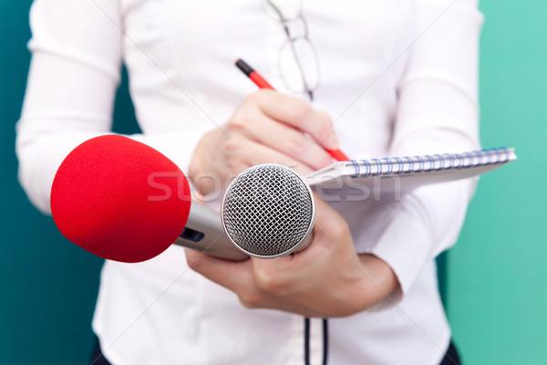 Giornalista news conferenza femminile cronista prendere appunti Foto d'archivio © wellphoto