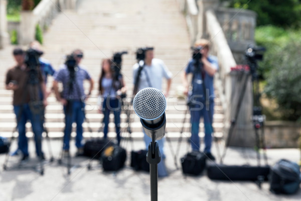 News conference. Microphone. Stock photo © wellphoto