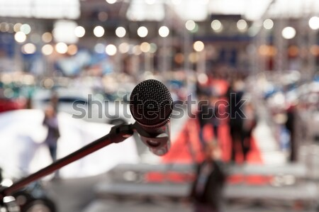 Stock photo: Microphone. News conference.