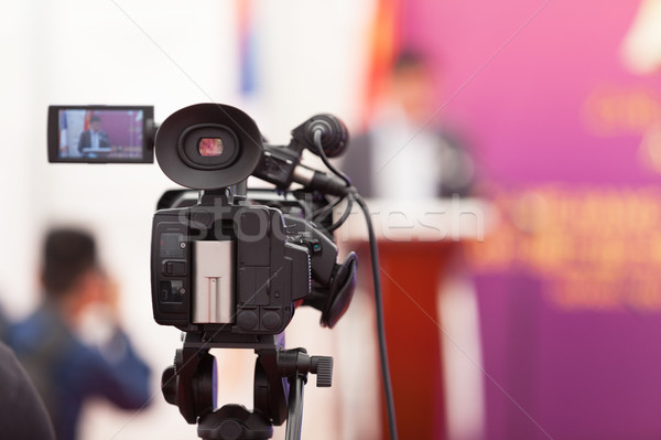 Media evento videocamera news conferenza imprenditore Foto d'archivio © wellphoto