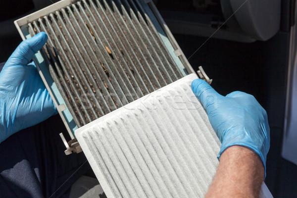 Kabiny powietrza filtrować czyste brudne samochodu Zdjęcia stock © wellphoto