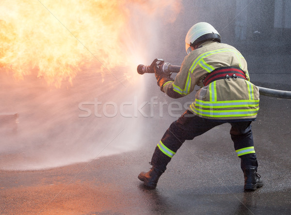 Firefighter in action Stock photo © wellphoto