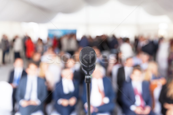 Business presentation. Corporate conference. Microphone. Stock photo © wellphoto