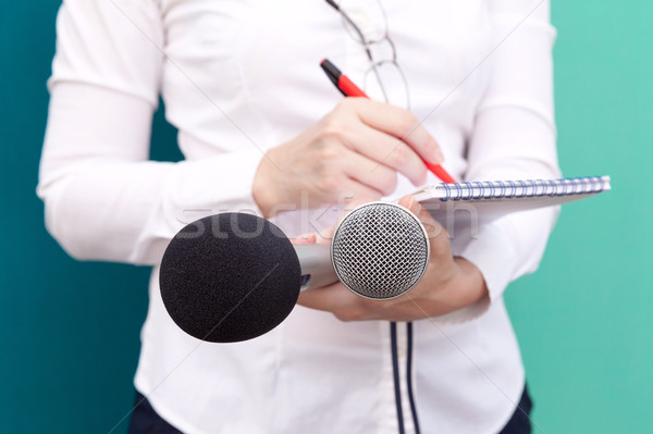Public relations - PR. Journalist. News conference. Stock photo © wellphoto