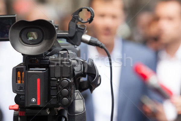 Press conference. Media interview. Spokesperson. Stock photo © wellphoto