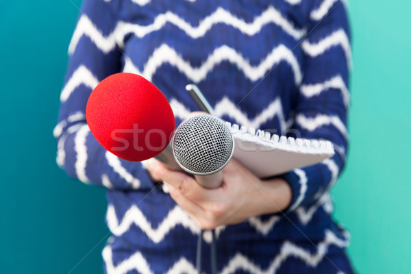 Female reporter at news conference, taking notes, holding microp Stock photo © wellphoto