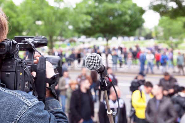 Foto stock: Micrófono · enfoque · borroso · multitud · cámara