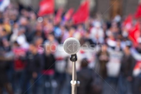 Mikrofon odak tanınmaz kalabalık insanlar bulanık Stok fotoğraf © wellphoto