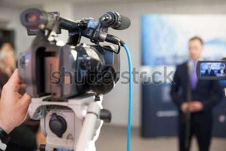 Videókamera esemény televízió mikrofon kommunikáció sajtó Stock fotó © wellphoto