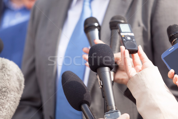 Journalists making media interview with businessperson or politi Stock photo © wellphoto