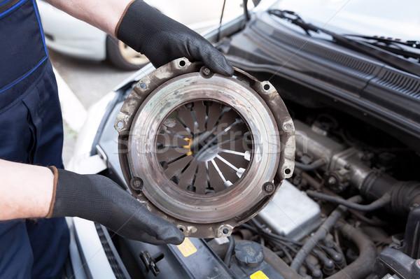 Embrague cesta mecánico de automóviles trabajo guantes Foto stock © wellphoto