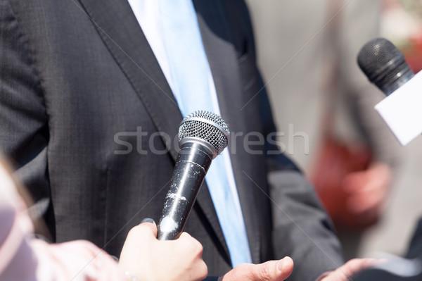 Média interjú üzletember politikus kéz hírek Stock fotó © wellphoto