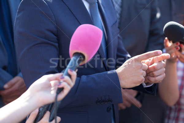 Media interview. Hand gesture. Business person. Stock photo © wellphoto