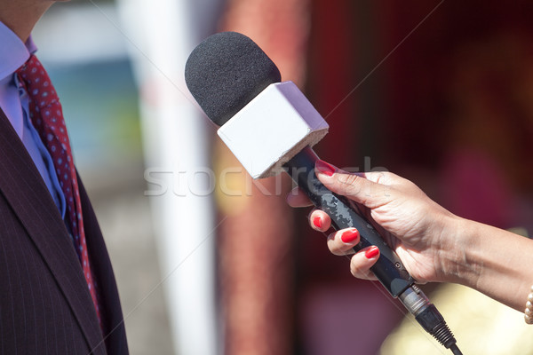Media interview. Microphone. Stock photo © wellphoto