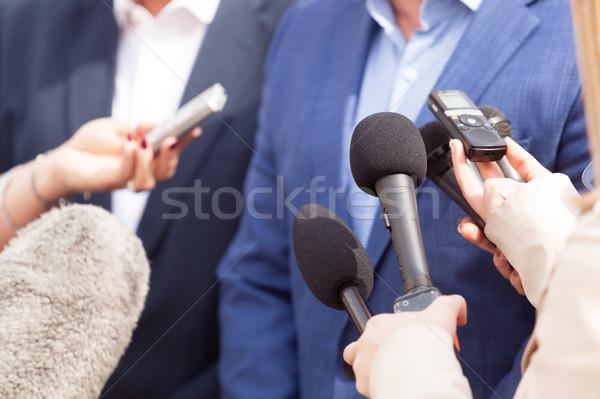 Média interjú sajtótájékoztató sajtó hírek konferencia Stock fotó © wellphoto