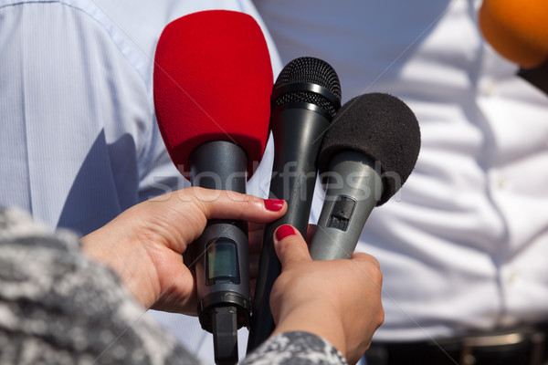 Media interview. Microphones. Stock photo © wellphoto