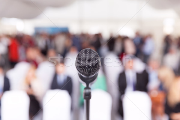 Business conference. Microphone. Corporate presentation. Stock photo © wellphoto