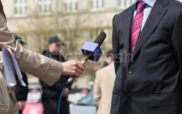 Journalist making media interview Stock photo © wellphoto