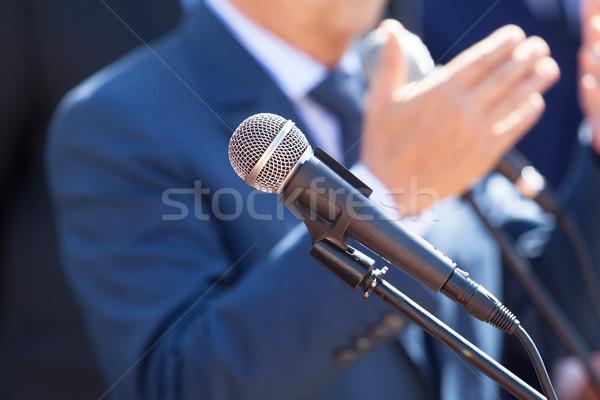 Haber konferans mikrofon odak bulanık konuşmacı Stok fotoğraf © wellphoto