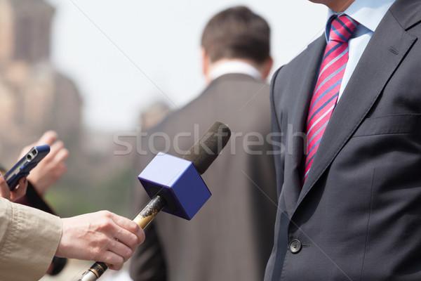 Druk interview media televisie nieuws communicatie Stockfoto © wellphoto