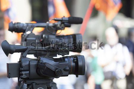Filmadora evento mão televisão tecnologia microfone Foto stock © wellphoto