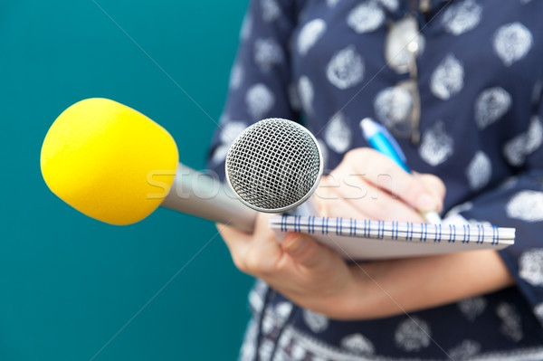 Stock photo: Female reporter taking notes at news conference