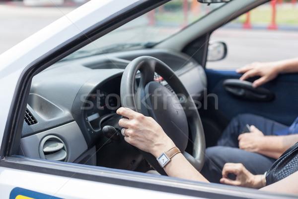 Kıdemli araba sürücü eğitmen okul Stok fotoğraf © wellphoto