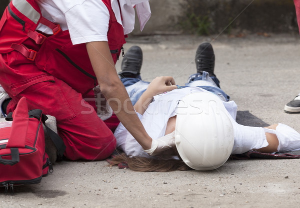 Travaux accident premiers soins formation main médecin Photo stock © wellphoto