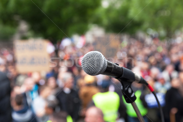 Political protest. Public demonstration. Microphone. Stock photo © wellphoto